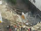 Parte da estrutura de prédio desaba e assusta moradores em Capinzal