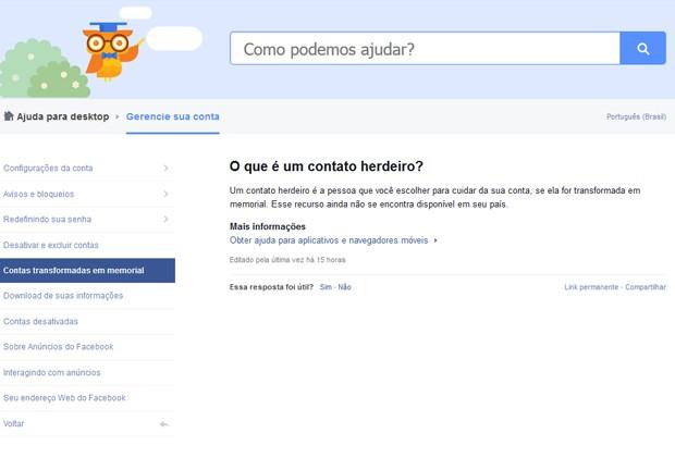 Página de orientação do Facebook informa sobre a função de 'contato herdeiro', ainda não disponível no Brasil (Foto: Reprodução / Facebook)