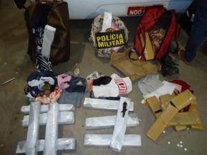 Mulher é presa com 24 kg de maconha em rodoviária em MS (Foto: Divulgação/PM)