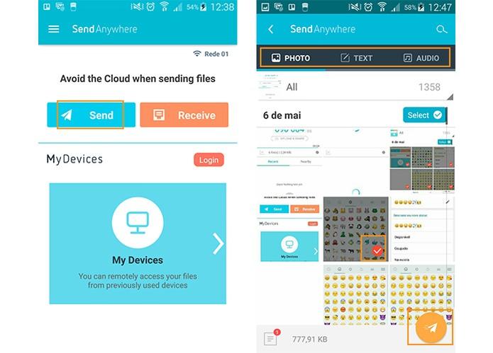 Instale o app Send Enywhere no Android e selecione os arquivos para enviar (Foto: Reprodução/Barbara Mannara)