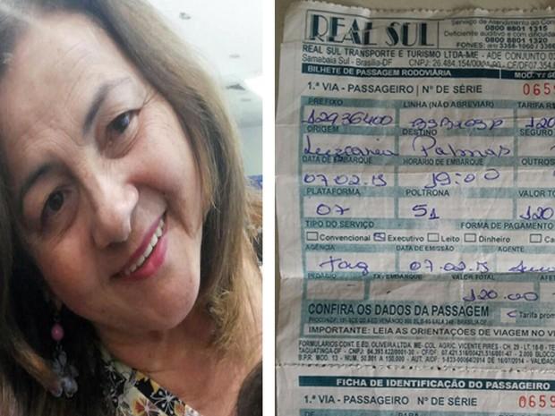 Montagem mostra aposentada Claunizia Dias Pinheiro, de 66 anos, e passagem de ônibus da empresa Real Sul Transporte  (Foto: Claunizia Dias/Arquivo Pessoal)