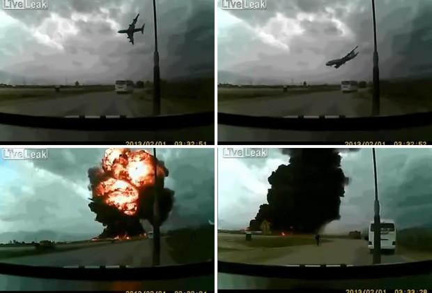 Montagem mostra sequência da queda de avião cargueiro no Afeganistão  (Foto: Foto: Reprodução/LiveLeak/Sathion)