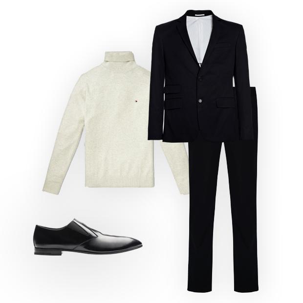 Sapatos Prada (sob consulta), malha Tommy Hilfiger (R$ 349), blazer Crawford (R$ 899,90), calça C&A (R$ 129,99) (Foto: Divulgação)
