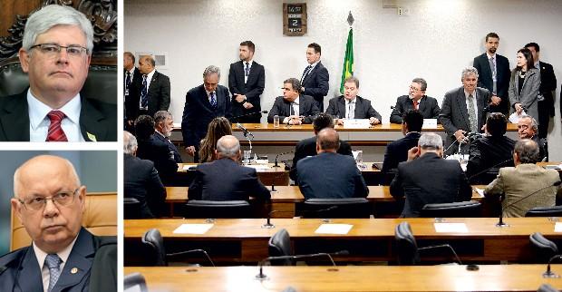 EM BRASÍLIA O procurador Rodrigo Janot (no alto),  o ministro Teori Zavascki (à esq.)  e o plenário da CPMI. Zavascki ordenou  a soltura de Duque  na semana passada (Foto: Dida Sampaio/Estadão Conteúdo (2) e Ag. Seando)