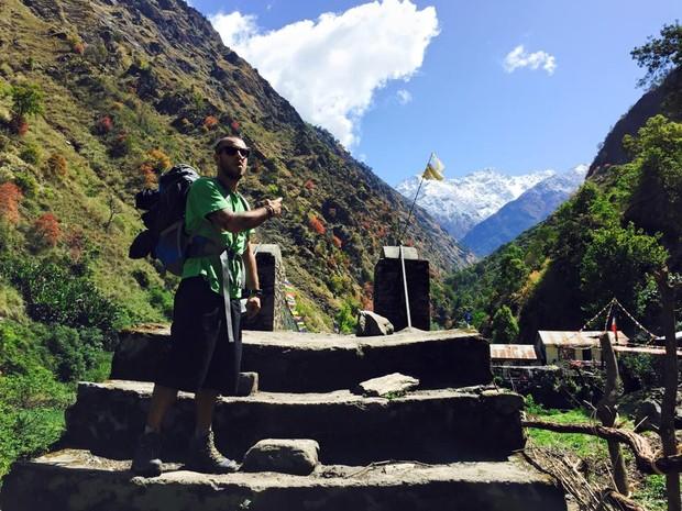 Rafael registrou trilhas feitas pelo Nepal e postou no Facebook (Foto: Arquivo pessoal)