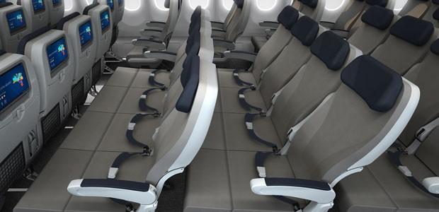 Poltronas que viram sofá da companhia aérea Azul (Foto: Divulgação)