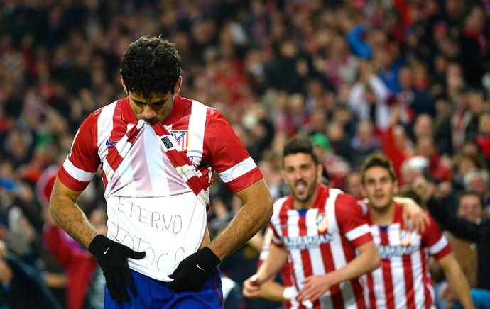 Diego Costa comemoração gol Atlético de Madrid contra Espanyol (Foto: AFP)