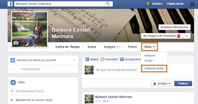 Clique no item para gerenciar as seções do Facebook (Foto: Reprodução/Barbara Mannara)