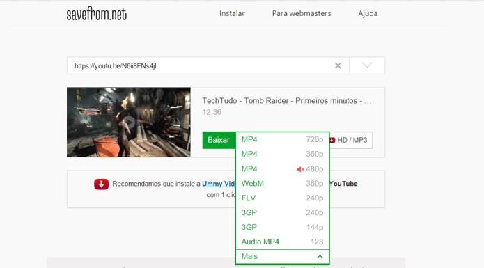 SaveFrom permite fazer download de vídeos do youTube (Foto: Reprodução/Barbara Mannara)