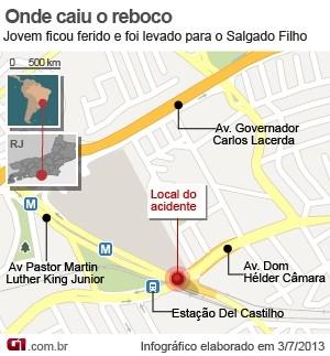 mapa reboco Pai de jovem atingido por reboco é recebido por prefeito do Rio