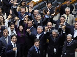 Deputados comemoram aprovação em primeiro turno da PEC que prorroga por 50 anos a Zona Franca de Manaus (Foto: Luís Macedo / Câmara dos Deputados)