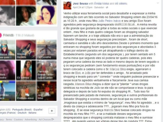 Mulher diz que filho foi discriminado em shopping (Foto: Reprodução/ Facebook)