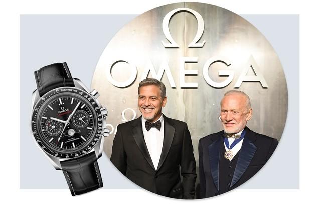 George Cloone, Buzz Aldrin e o novo relógio da Omega no detalhe (Foto: Arte Vogue Online e Divulgação)
