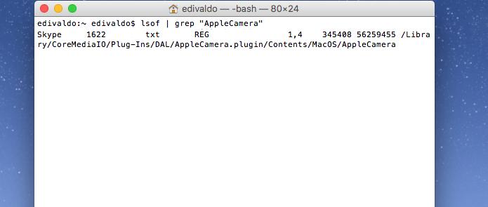 Visualizando qual programa está usando a webcam no macOS (Foto: Reprodução/Edivaldo Brito)