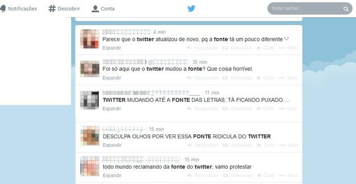 Mudança de fonte do Twitter gera reclamações dos usuários (Foto: Reprodução/Barbara Mannara)