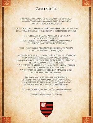 Comunicado Flamengo Aniversário 60 anos Zico (Foto: Divulgação)