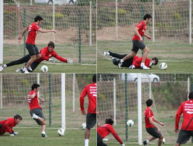 Quatro momentos de lance de gol de Dátolo no treino do Inter desta segunda-feira (Foto: Montagem sobre fotos de Diego Guichard/Globoesporte.com)