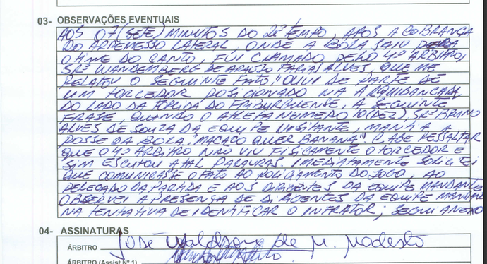 Árbitro cita injúria racial na partida entre friburguense e macaé (Foto: Reprodução)