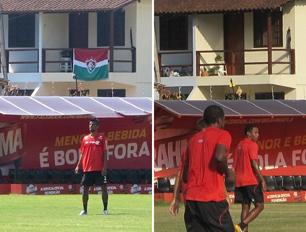Montagem Flamengo - Casa vizinha do Ninho do Urubu que tinha uma bandeira do Fluminense (Foto: Globoesporte.com)