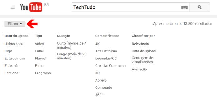 O YouTube oferece diversos filtros para refinar e facilitar a busca dos vídeos (Foto: Reprodução/Lívia Dâmaso)