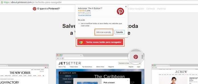 Clique para adicionar o botão de extensão no Chrome  (Foto: Reprodução/Barbara Mannara)