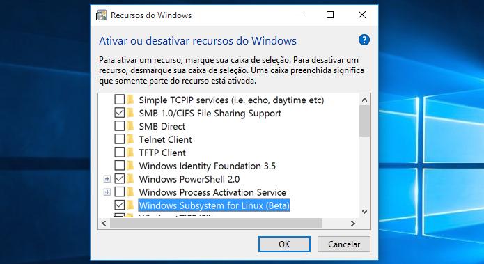 Ativando o Windows Subsystem for Linux (Beta) (Foto: Reprodução/Edivaldo Brito)