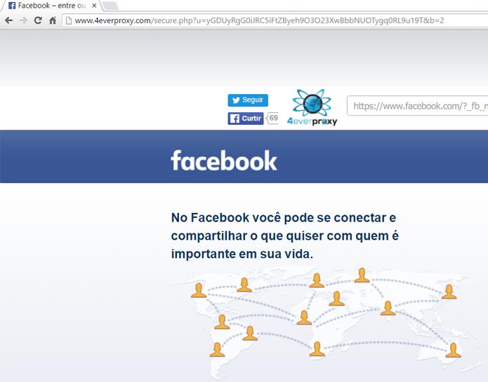 Proxys permitem acessar o site mesmo em ambientes em que o Facebook está bloqueado (Foto: Reprodução/Filipe Garrett)