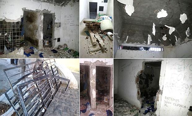Celas do CDP de Santa Cruz não resistiram ao vandalismo; presos destruíram até o teto da unidade (Foto: G1/RN)