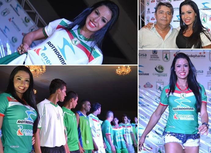 Novo uniforme do Sousa, modelo Gracyanne Barbosa (Foto: Jéfferson Emmanoel / GloboEsporte.com)
