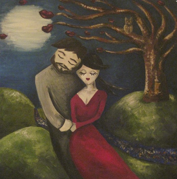 Artista pintou quadro no qual aparece de mãos dadas com o 'futuro marido' antes mesmo de conhecê-lo (Foto: Reprodução/Facebook/Chloe Mayo)