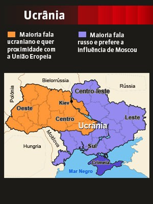 Ucrânia dividida (Foto: GloboNews)
