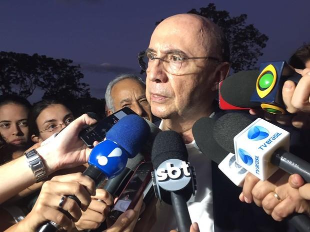 O ex-presidente do Banco Central Henrique Meirelles, após reunião com o vice-presidente Michel Temer