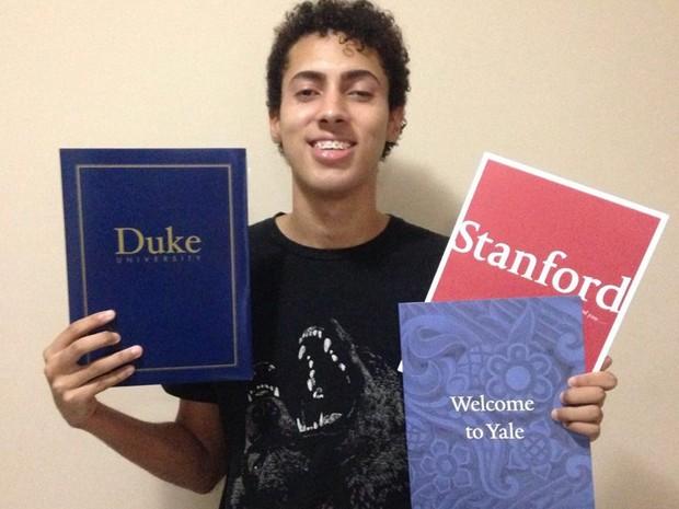 Vinícius Garcia, 19 anos, em visita às universidades norte-americanas  (Foto: Foto: Arquivo pessoal )