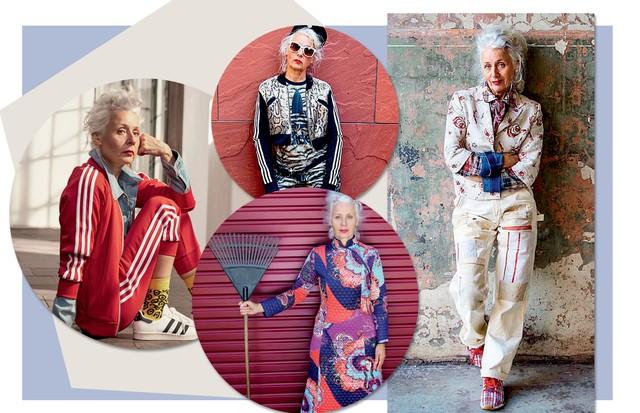 Sarah Jane Adams, 61 anos: Sarah posou para a campanha de inverno da multimarcas sueca Ahlens, em total look Adidas (Foto: Andrea Behrends, Andreas Ohlund, David Taylor, Nikko La Mere, Divulgação, Instagram e Getty Images)