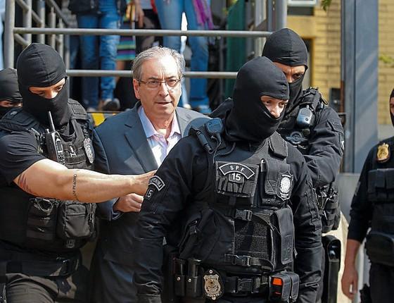 O ex-deputado Eduardo Cunha no dia da prisão.Quando ele fala,o governo treme (Foto: Paulo Lisboa/Brazil Photo Press/LatinContent/Getty Images)