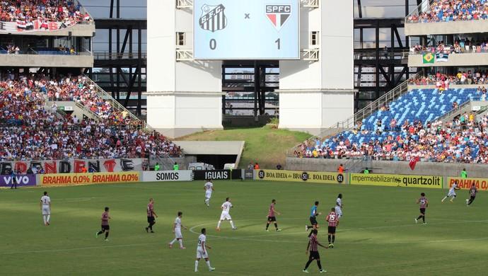 São Paulo venceu o Santos por 1 a 0 na Arena Pantanal (Foto: Olímpio Vasconcelos)