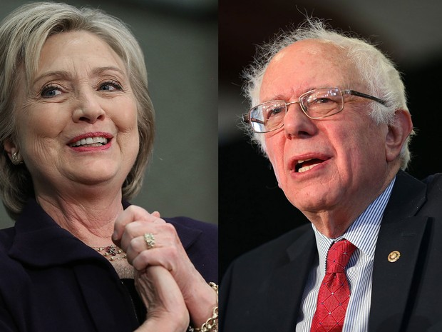 Os pré-candidatos democratas Hillary Clinton e Bernie Sanders (Foto: Win McNamee/Joe Raedle/Getty Images/AFP )