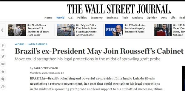 The Wall Street Journal afirmou que o ex-presidente está negociando um retorno ao governo, em um acordo que poderá protegê-lo de eventuais problemas com a Justiça (Foto: Reprodução/The Wall Street Journal )