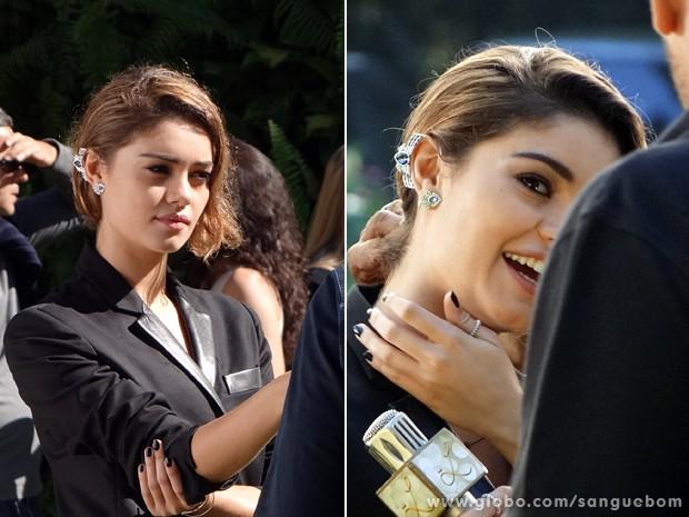 Versátil, o 'ear cuff' compôs um visual perfeito com o tailleur preto de Amora (Foto: Sangue Bom/TV Globo)
