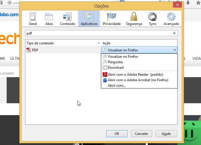 Ações disponíveis para arquivos PDF (Foto: Reprodução/Helito Bijora)