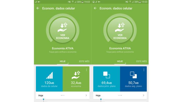 Economia de dados no Galaxy J5 Metal com o Opera Max ativado (Foto: Reprodução/Ana Marques)
