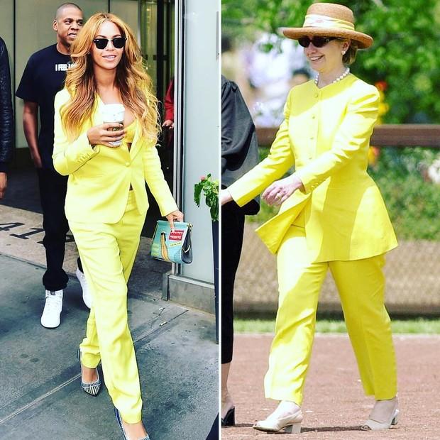 Beyoncé e Hillary Clinton usam terninhos similares (Foto: Reprodução)