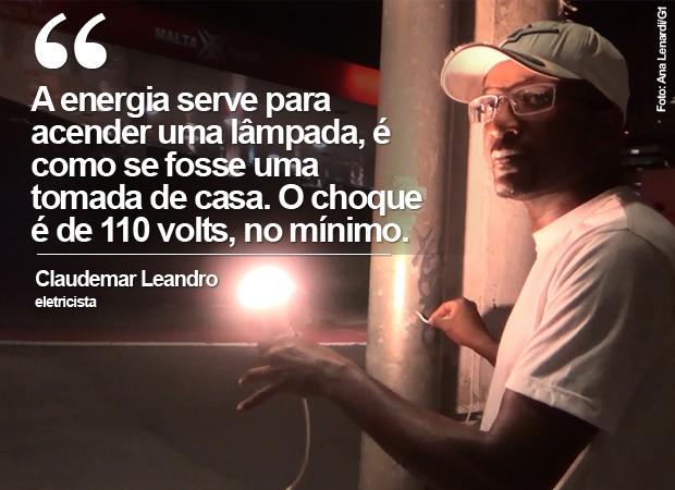 Claudemar Leandro descobriu postes de luz energizados na Avenida Faria Lima, em São Paulo (Foto: Ana Leonardi/G1)