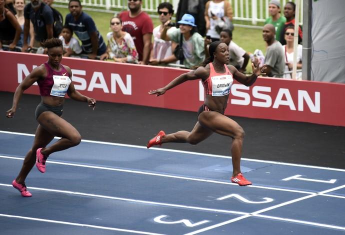 Veronica Campbell Brown vence Bolt contra o Tempo (Foto: André Durão / Globoesporte.com)