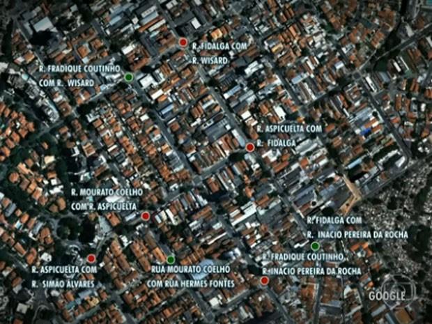 Mapa da Vila Madalena com pontos de restrições (Foto: Reprodução / TV Globo)