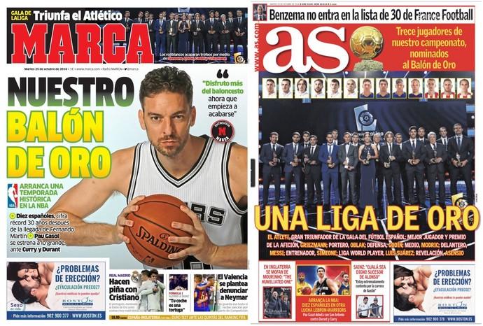 Capas jornais Marca e As Bola de Ouro  (Foto: Reprodução)