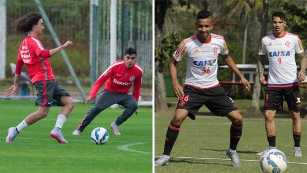 Internacional x Falmengo Brasileirão (Foto: Alexandre Lops/ Site oficial Internacional / Gilvan de Souza / Flamengo)