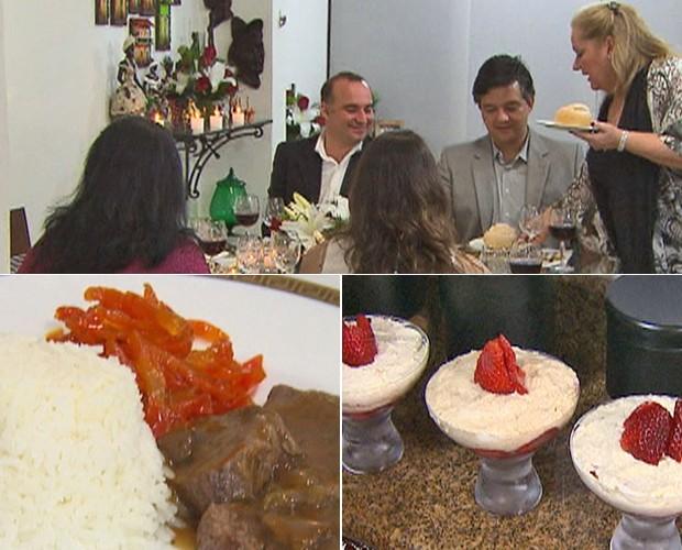 Eliane serve seus convidados do Jantar de Gala com Filé ao Molho de Vinho1 (Foto: Mais Você / TV Globo)