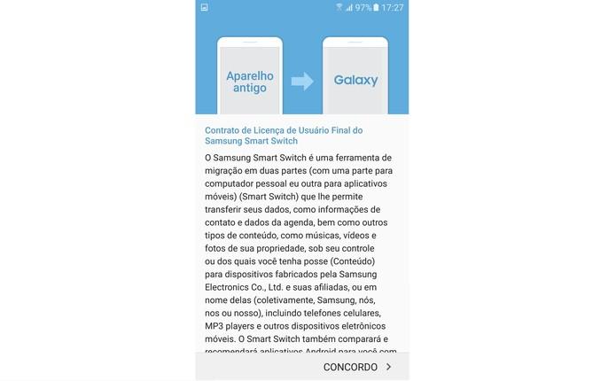 Assine o contrato do app para iniciar a transferência para o Galaxy S7 (Foto: Reprodução/Isabela Giantomaso)