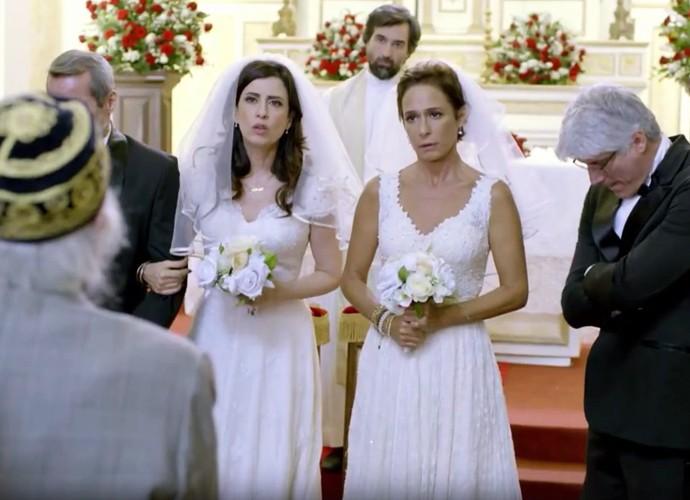 Seu Chalita tenta impedir casamento de Fátima e Sueli (Foto: TV Globo)